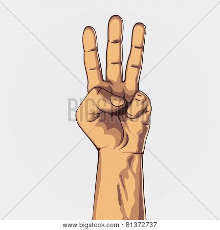 Hand showing three count