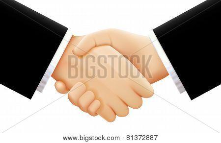 Handshake on white background. Vector illustration