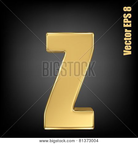 Vector letter z from gold solid alphabet. Lowercase golden font collection. EPS 8