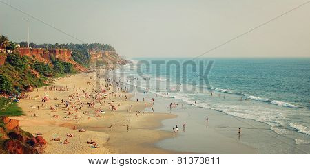 Tropical Beach And Peaceful Ocean - Vintage Filter. Varkala, India.