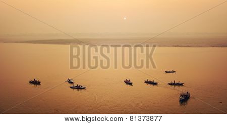 Boats With Tourists At Ganga River - Vintage Filter. Sunrise In Varanasi, India.