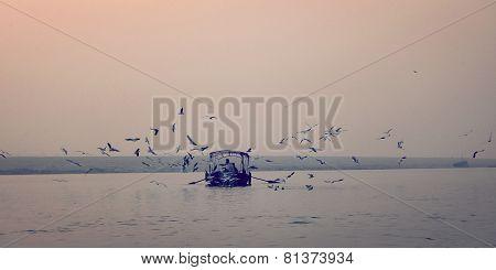 Birds Circling Around Fishing Boat At Ganga River Vintage Effect. Sunrise Retro Photo.