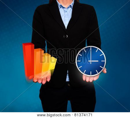Businesswoman showing Growth graph and clock. Success Work