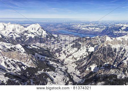 Swiss Alpine Jungfrau Region And Thun Lake Landscape