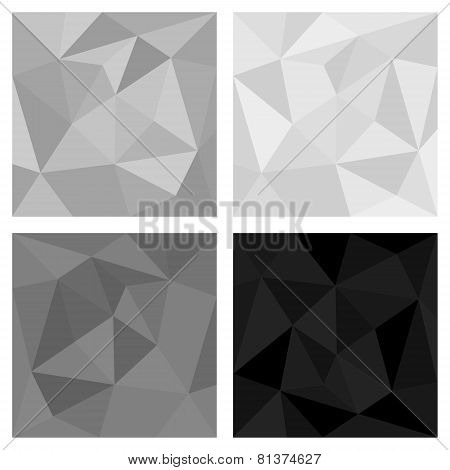 Grey, white and black triangle vector background set