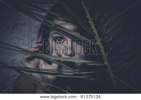 Mystery, Sensual young girl hidden behind the branches of a tree