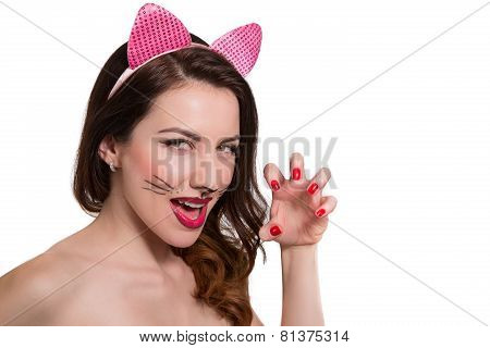 Catwoman Makeup On Beautiful Girl. Pink Lipstick, Nail Polish Isolated On White