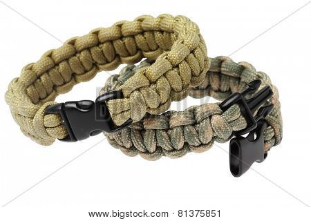 Para cord Survival Bracelets On White Background