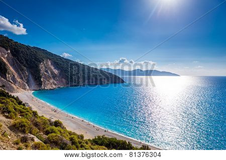 Scenic view of Myrtos beach , Kefalonia