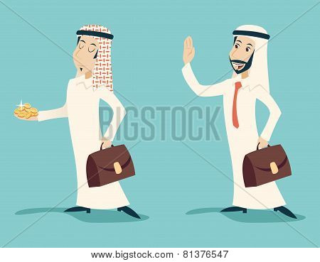 Retro Vintage Arab Businessman with Gold Greeting Business Proposal  Cartoon Characters Set Icon on