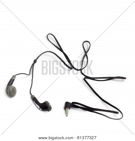 earphones small with cable isolated on white background