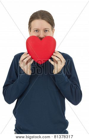Valentines Day Man Lifting A Red Heart In Front Of His Face