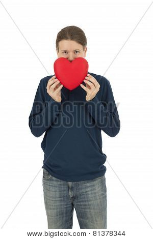 Valentines Day Man Behind A Red Heart