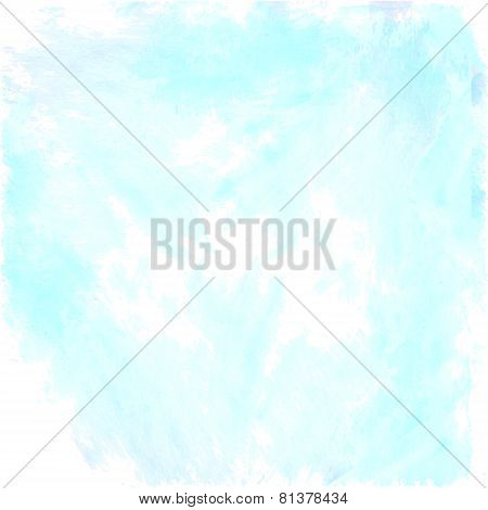 Blue sky with clouds on the shiny day, watercolor seamless background. Vector illustration.