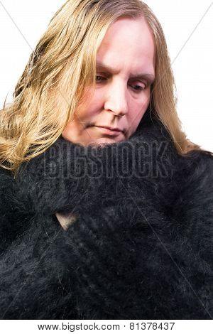 Female Model wearing a Angora Sweater