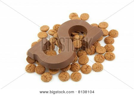 Chocolate Letter S And Ginger Nuts For Sinterklaas