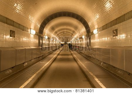 Old Elb Tunnel in Hamburg harbor