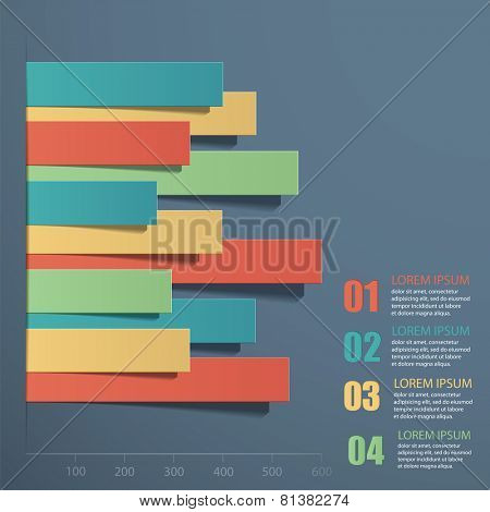 Vector illustration infographics. Paper strips superimposed on each other.