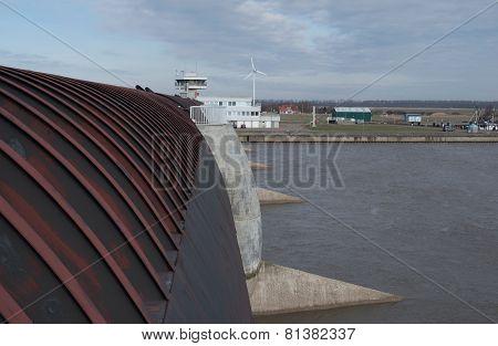 Eidersperrwerk on the North Sea