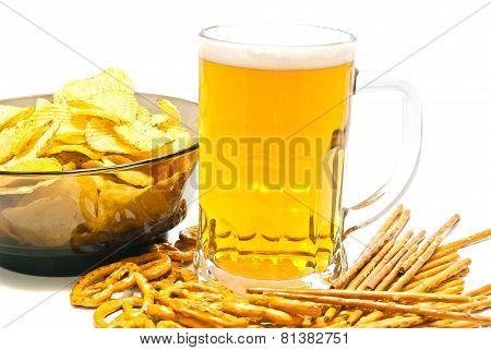 Pretzels, Breadsticks, Chips And Beer Closeup
