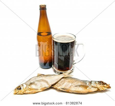 Two Stockfish And Dark Beer On White