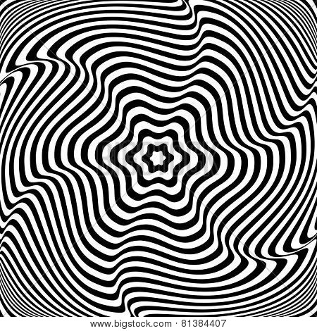 Illusion of  rotation movement. Abstract op art illustration. Vector art.
