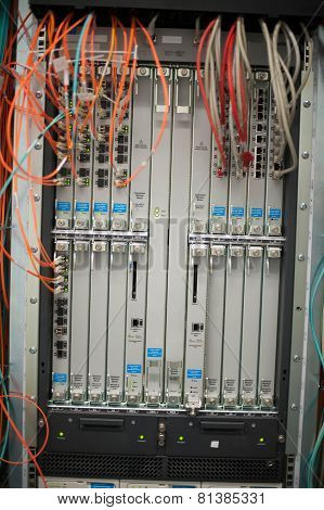 Network Switch LAN and optical fiber LWL