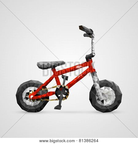 Polygonal 3d bike. vector illustration