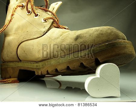 Heavy Military Boot Trampling Heart.