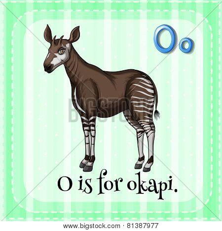Illustration of a letter O is for okapi