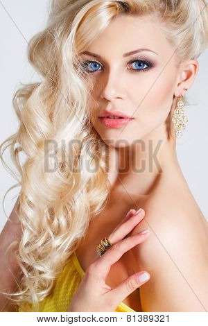 Studio portrait of a stunning beauty blonde.