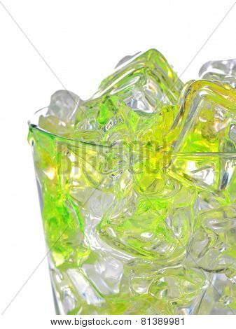 cocktail and ice cubes on white background