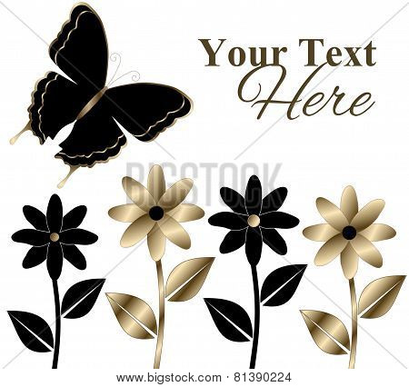 Black and Gold Flowers and Butterfly