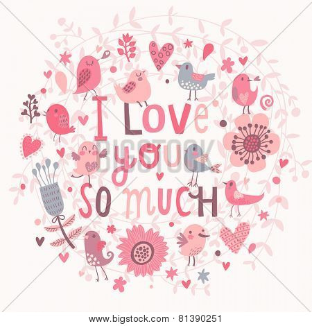 All I need is you. Funny cartoon illustration, trendy card with owls sitting on the branch in flowers