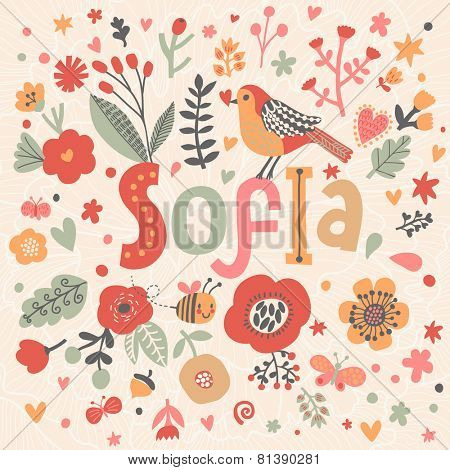 Bright card with beautiful name Sofia in poppy flowers, bees and butterflies. Awesome female name design in bright colors. Tremendous vector background for fabulous designs