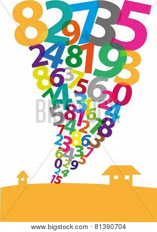 A Tornado formation made of Arabic Numerals. EPS10 and jpg