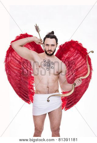 Sexy young man with big red wings. Cupid, Valentine, Archangel, Angel