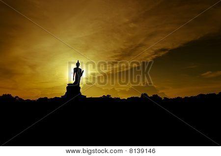 Silhouette Of Buddha