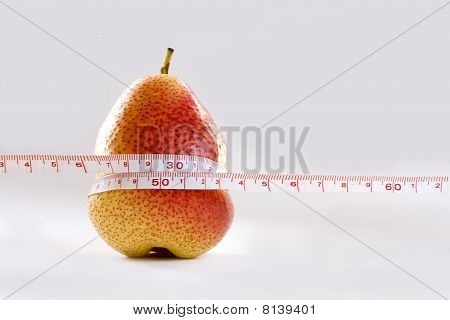 Pear And Measurement Tape Symbol