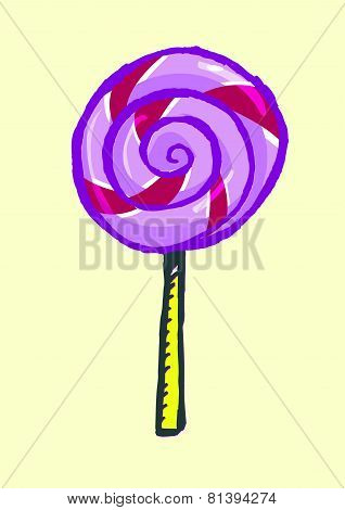 Hand drawn Lollipop Doodle. Isolated on a yellow background