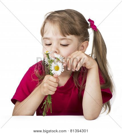 little blond girl with a bouquet