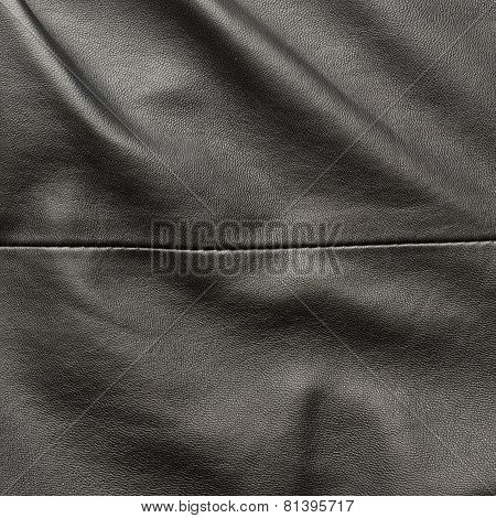 Black leather material fragment