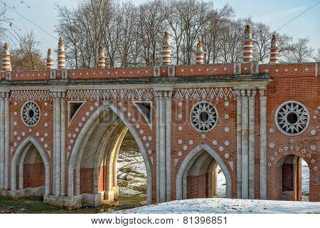 Ornate Bridge In Tsaritsino Park. Moscow