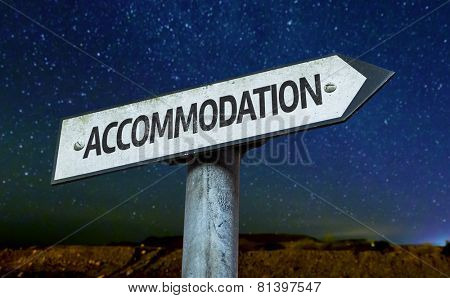 Accommodation sign with a beautiful night background
