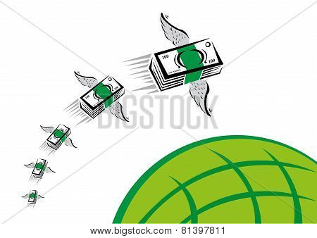 Green Money with wings flies fast over a green globe