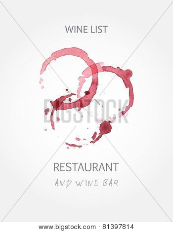Wine list design templates with red wine stains. Vector illustration