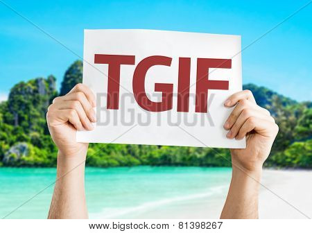 TGIF card with a beach on background