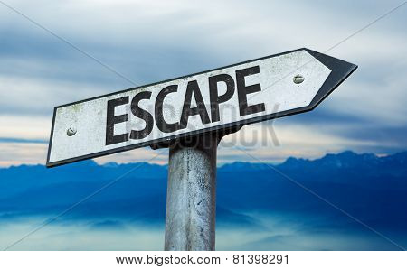 Escape sign with sky background