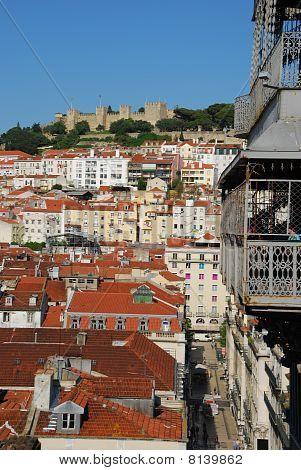 Lisbon Cityscape With Castle And Santa Justa Elevator