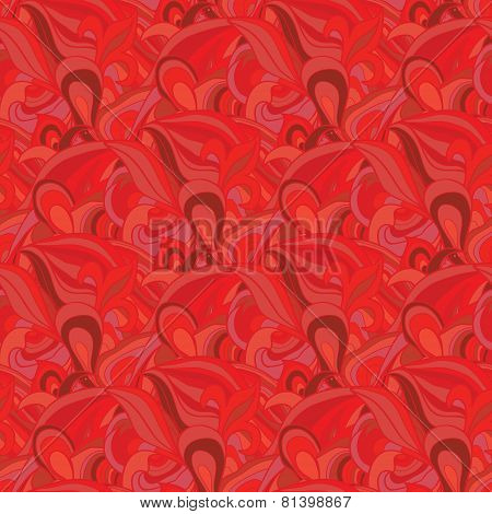 Seamless  background from curls of red shades